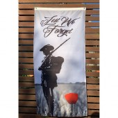 Lest We Forget Soldier and Poppy Fence Hung