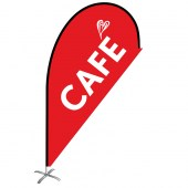 Cafe White Heart Small Red Teardrop Flag Kit