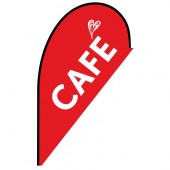 Cafe Small Red Teardrop Flag