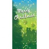 Merry Christmas Blue Green Vertical Flag