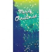 Merry Christmas Flag Teal Blue Vertical