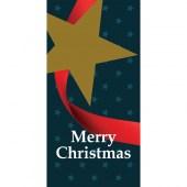 Merry Christmas Blue Flag with Star Horizontal