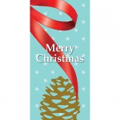 Merry Christmas Light Blue Ribbon with Pine Cone