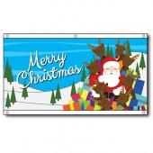 Merry Christmas Santa Sleigh flag, eyelet finish