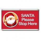 Santa Please Stop Here Eyelet Flag