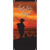 Lest We Forget Soldier Sunset Background Vertical Eyelet Flag