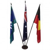 Australian, Aboriginal, TSI Foyer Display with wooden base, side view.
