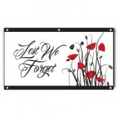 Lest We Forget White Poppies Landscape Flag
