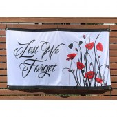 Lest We Forget White Poppies Landscape Flag