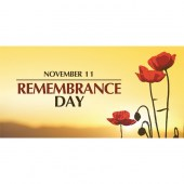 Remembrance Day Flag  - Poppies on Yellow Horizontal  (22)