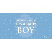 Congratulations It's a Baby Boy Blue Flag  Flag 1800mm x 900mm (Knitted)