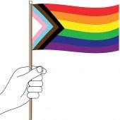 Progress Pride Flag Handwaver