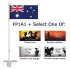 Flagpole, Australian Flag plus select one Lest We Forget flag