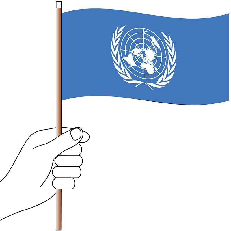 United Nations Hand Flag