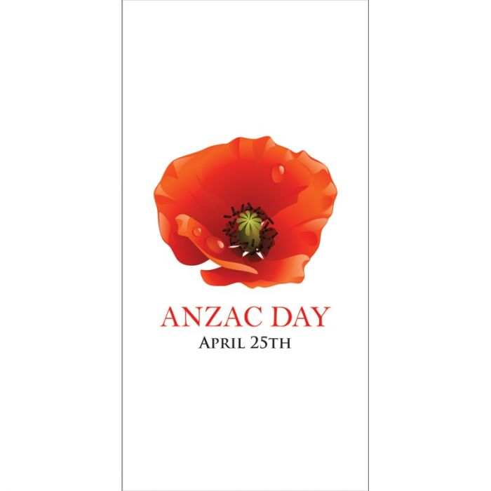 ANZAC Day Flag - White with Centered Poppy (37)