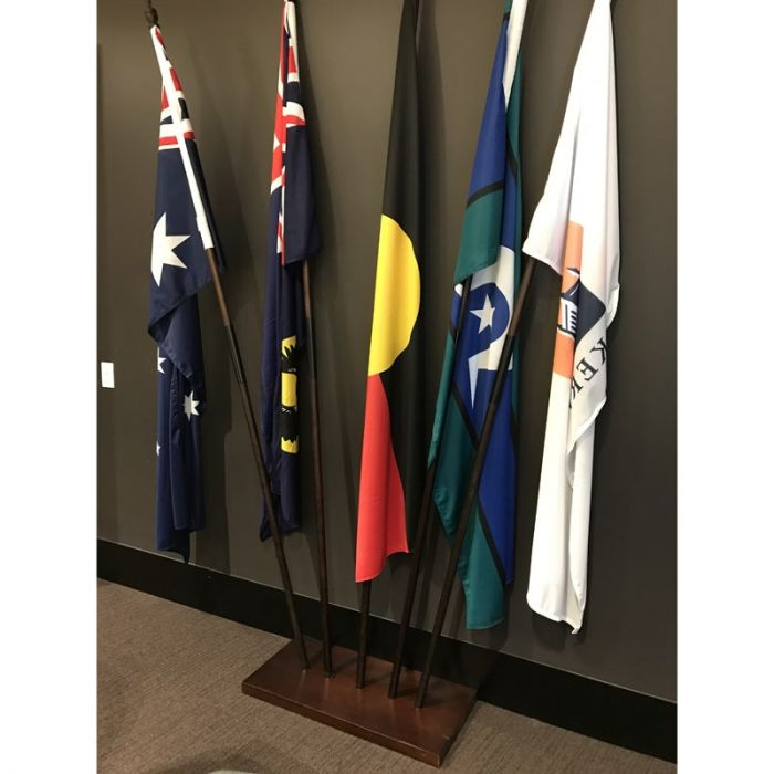 Rectangle Wooden Base with Flags