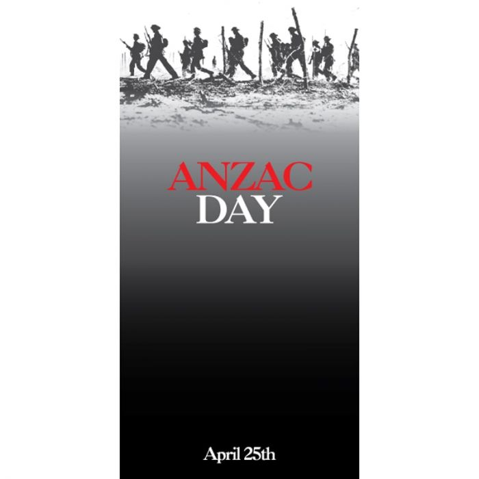 ANZAC Day Flag - Soldiers on Grey Field (50)