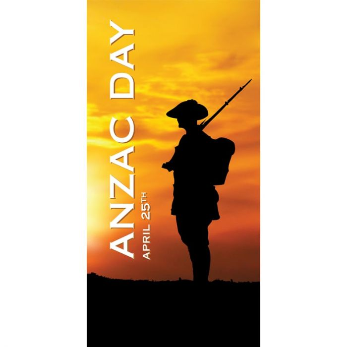 ANZAC Day Flag  - Sunset with Armed Solider (55)