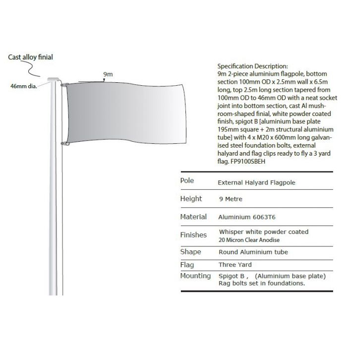 9m Flagpole with External Halyard