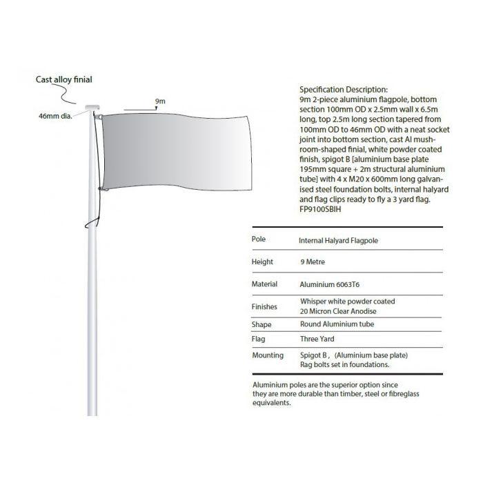 9m Flagpole with Internal Halyard