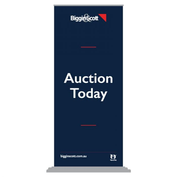 Biggin & Scott Auction Today Pull Up Banner Silver Base