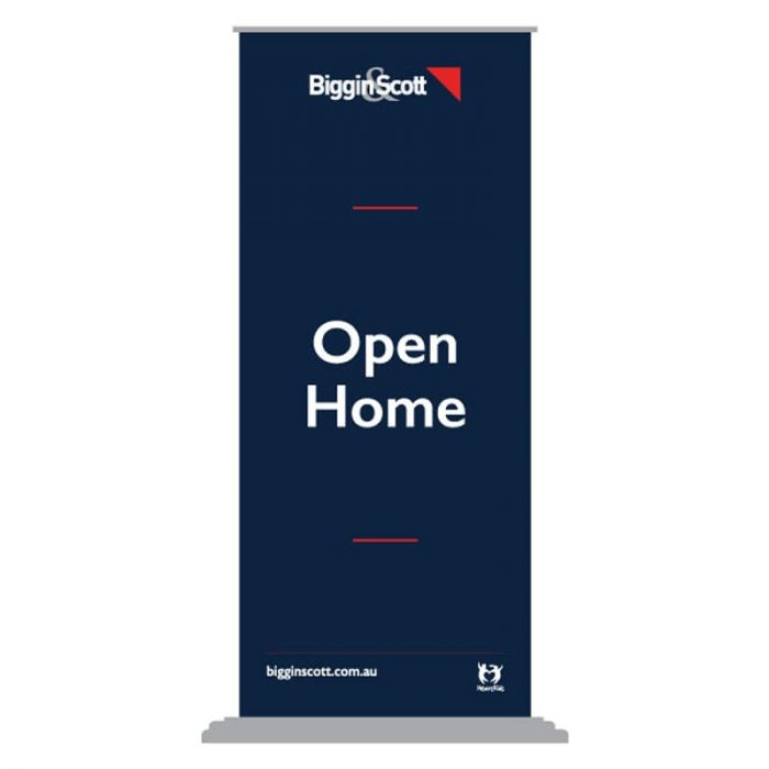 Biggin and Scott Open Home Pull Up Banner Silver Base
