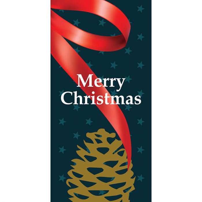 Merry Christmas Flag Blue with Ribbon with Pine Cone