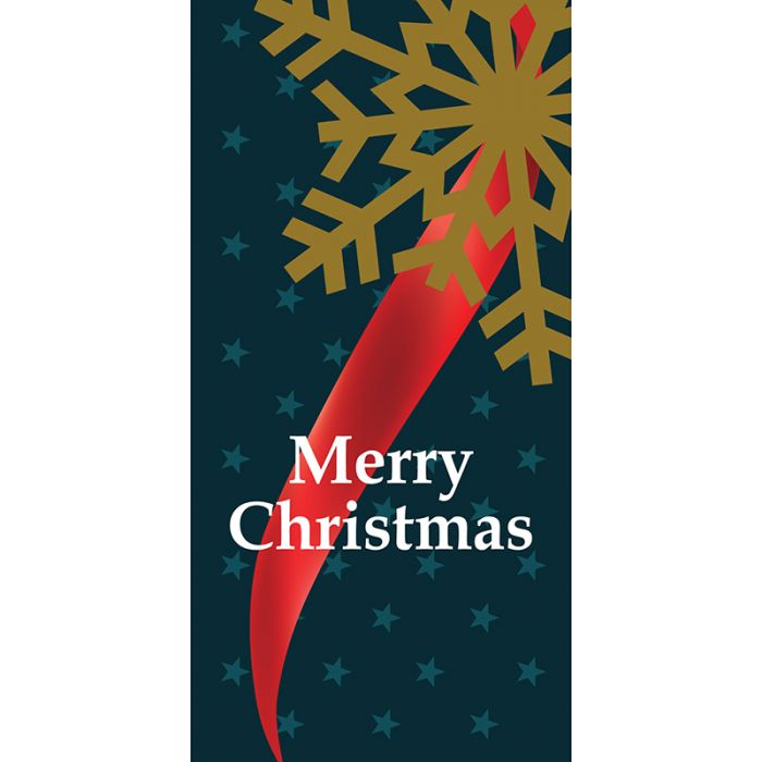 Merry Christmas Flag Blue Ribbon with Snow Flake