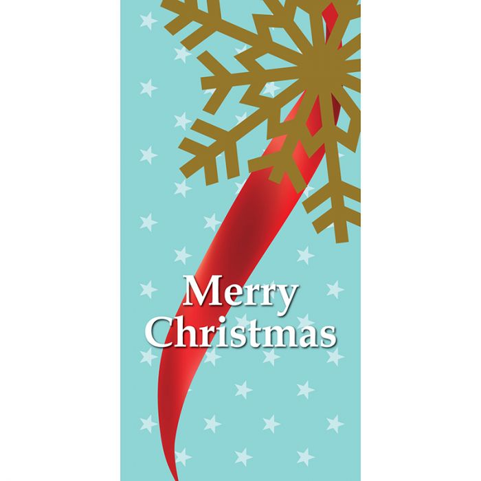 Merry Christmas Light Blue Ribbon Snow Flake