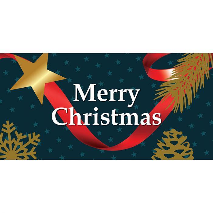 Merry Christmas Blue Flag Horizontal