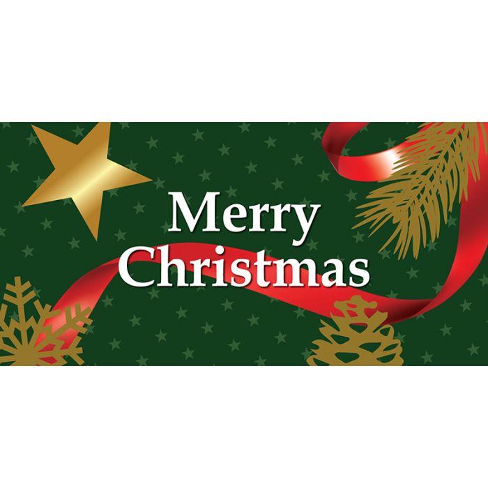Merry Christmas Flag Green Horizontal