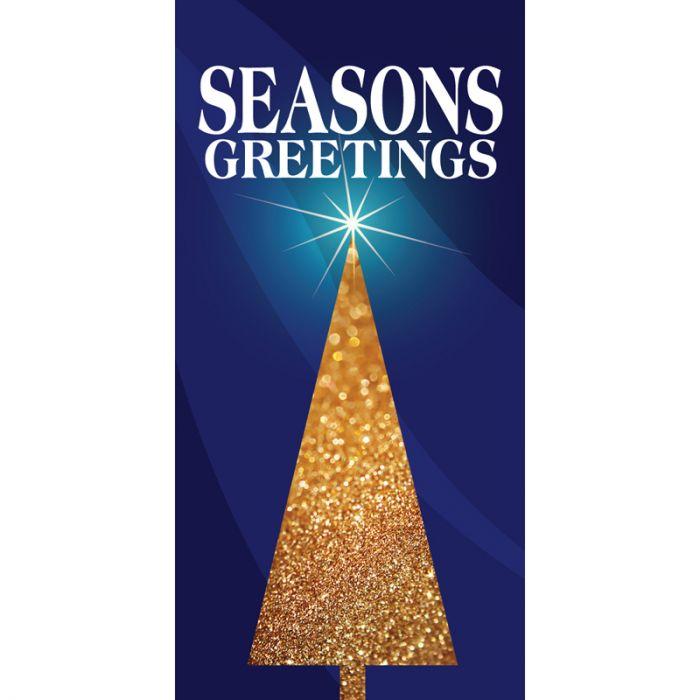 Christmas Flag Blue Seasons Greetings Tree  (99)