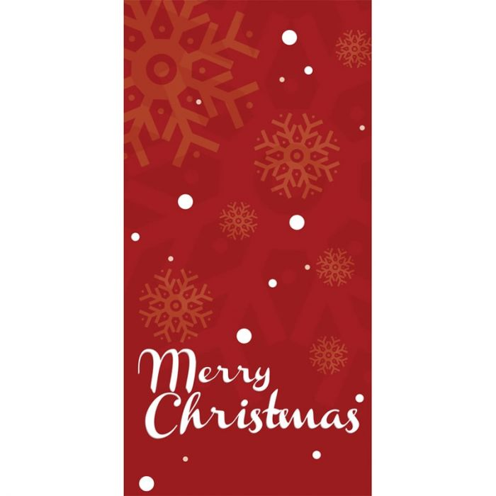 Merry Christmas Red Flag with Snowflakes 900mm x 1800mm (Various Finishes)