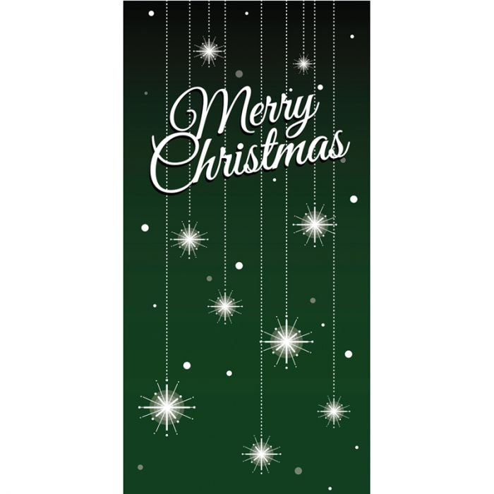 Merry Christmas Flag Green with Stars 900mm x 1800mm (Various Finishes)