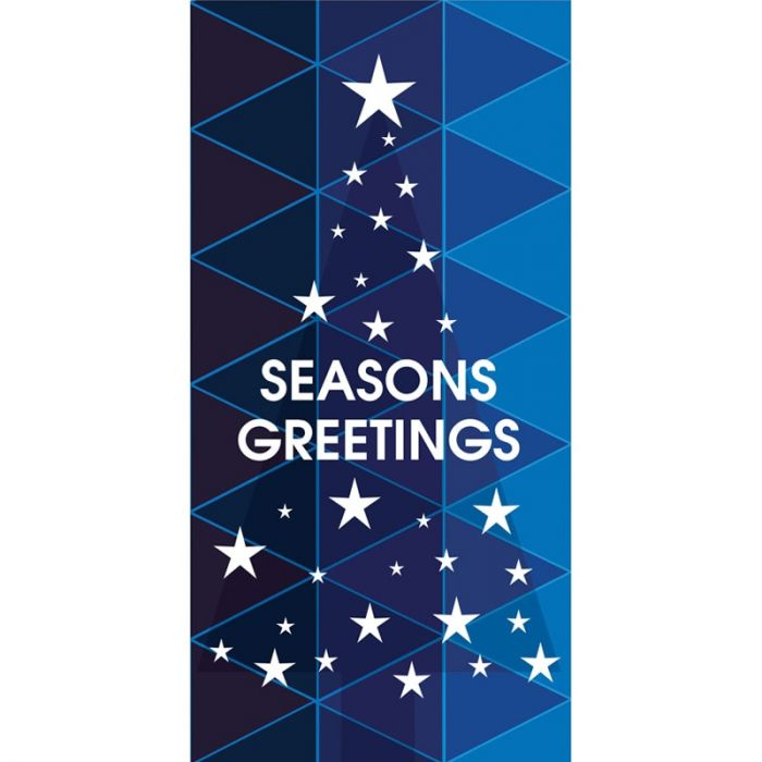 Seasons Greeting Tree with Stars Blue 900mm x 1800mm (Various FInishes)