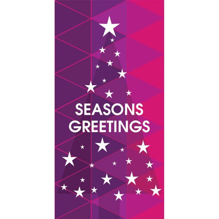 Seasons Greeting Tree with Stars Purple 900mm x 1800mm (Various FInishes)