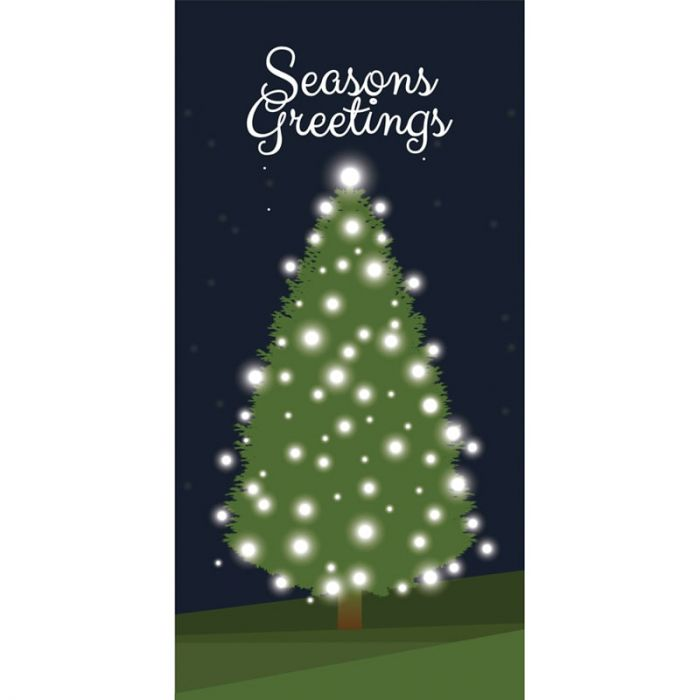 Seasons Greeting Tree with Lights 900mm x 1800mm (Various FInishes)