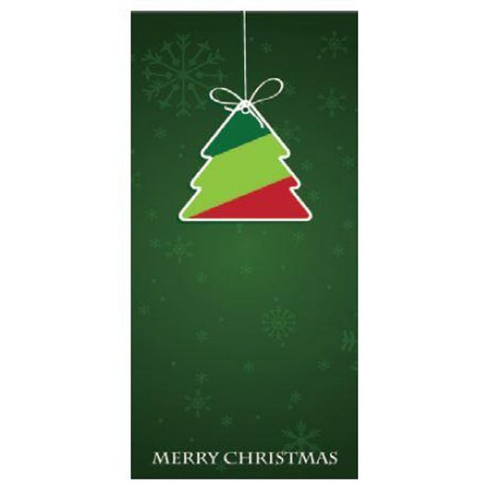 Seasons Greetings Dark Green Flag with Tree 900mm x 1800mm (Various Finishes)