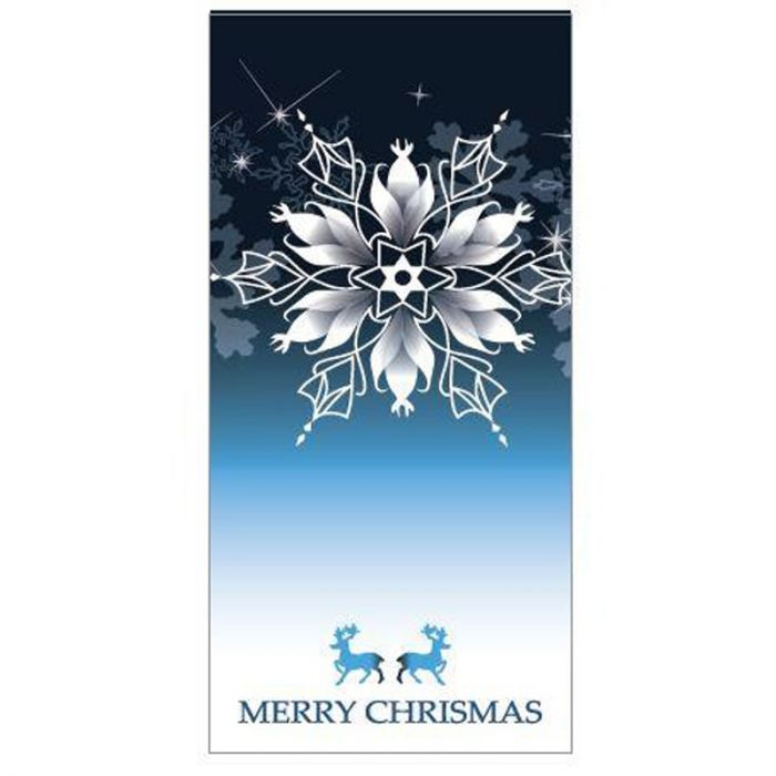Seasons Greetings Dark Blue Flag with Snowflake 900mm x 1800mm (Various Finishes)