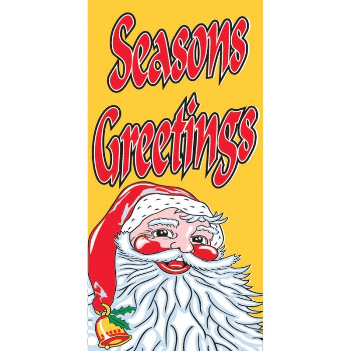 Seasons Greetings Santa Flag Yellow Vertical 900mm x 1800mm (Knitted)