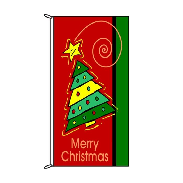 Christmas Flag Red with Tree 900mm x 1800mm (Knitted)