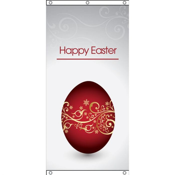Happy Easter Red Egg Eyelet Finish 750mm x 1500mm