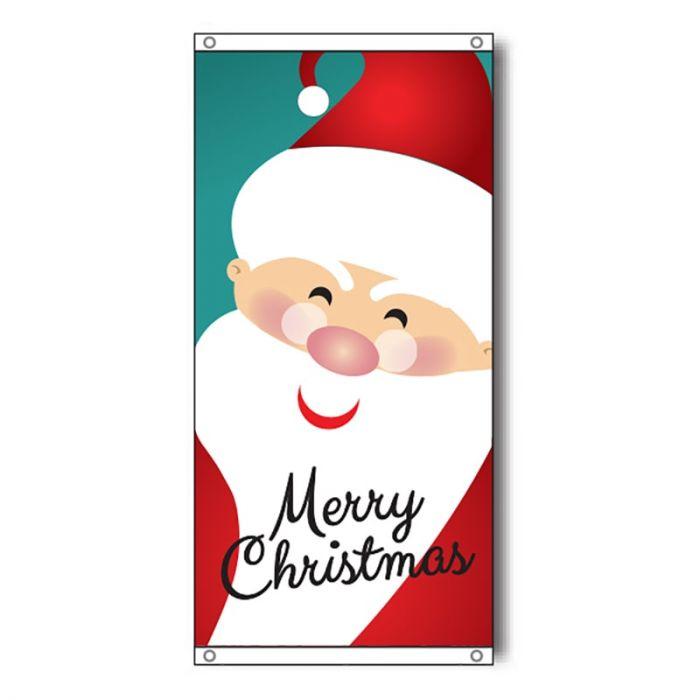 Merry Christmas Flag with Santa. Eyelet finish.