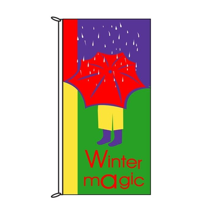 Winter Magic Red Umbella Flag 900mm x 1800mm (Knitted)
