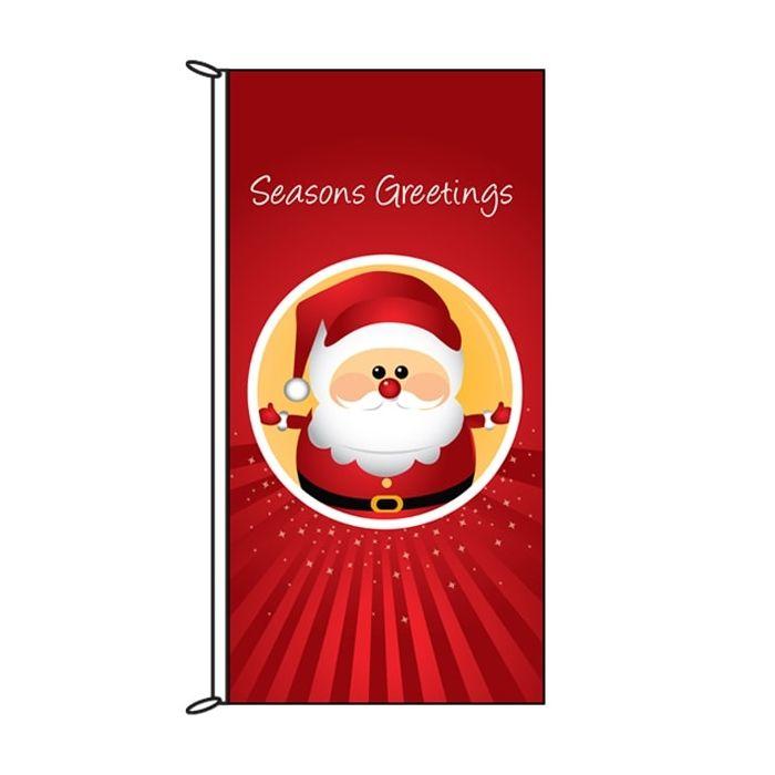 Seasons Greetings Red Santa Flag