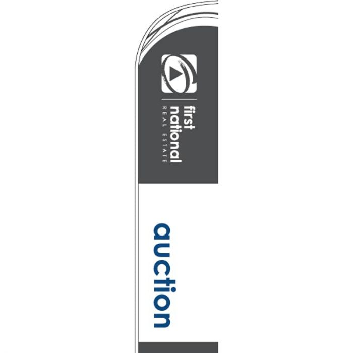 First National Auction Feather Flag Grey
