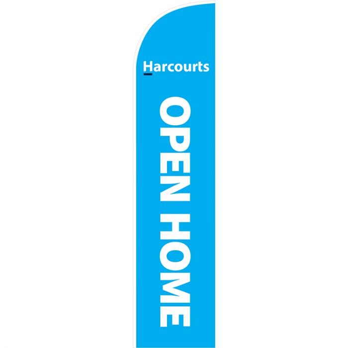 Open Home Feather Flag Cyan Harcourts