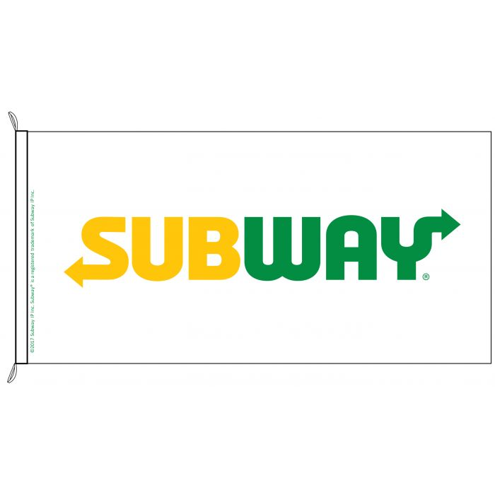 Subway Flag (White Background) 1800mm x 900mm (Knitted)