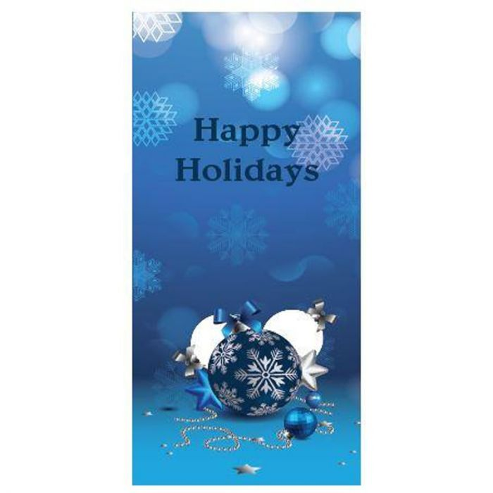Happy Holidays Blue Flag with Bauble (94)