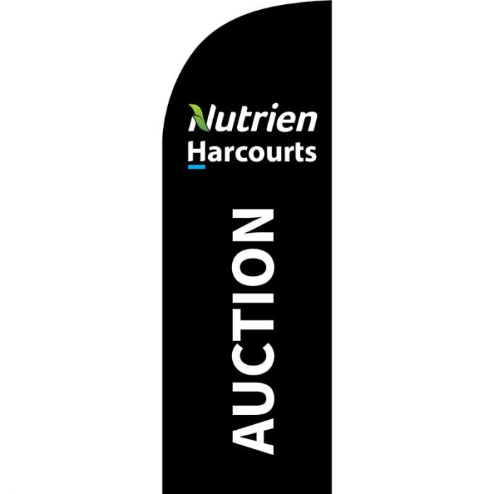 Nutrien Harcourts Auction (2020) Black Small Feather Flag 650mm x 2000mm